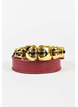 Judith Leiber Pre-owned Red Karung Snakeskin Embellished Buckle Belt.