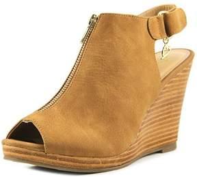 Thalia Sodi Telmap Women Open Toe Synthetic Tan Wedge Sandal.