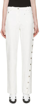 Courreges White Denim Twisted Button Trim Pants