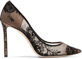 Jimmy Choo Romy 100 Leather-trimmed Lace Pumps - Black