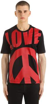 Love Moschino Macro Logo Printed Cotton Jersey T-Shirt