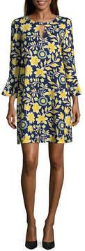 ECI WESLEE ROSE Elbow Sleeve Floral Crepe Dress