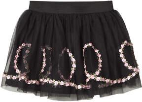 Kate Mack Biscotti Black Flower Embroidered Skirt