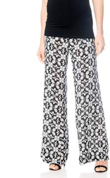 A Pea in the Pod Wide Leg Cropped Challis Pant Navy Print