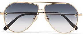 Stella McCartney Aviator-style Gold-tone Sunglasses - Blue