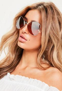 Missguided Rose Gold Heart Aviator Sunglasses
