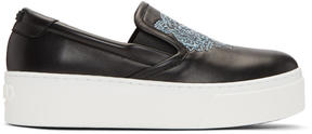 Kenzo Black K-PY Tiger Platform Slip-On Sneakers