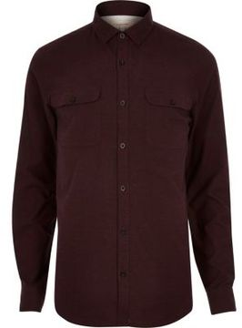 River Island Mens Berry brushed flannel two pocket shirt