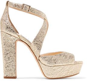 Jimmy Choo April 120 Metallic Crinkled-leather Platform Sandals - Gold