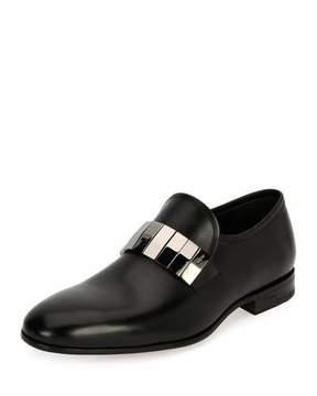 Salvatore Ferragamo Men's Broken-Mirror Leather Formal Loafer, Black