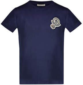 Moncler Maglia Short-Sleeve T-Shirt w/ Logos, Navy, Size 8-14