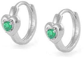 Ice Kids' Silver Heart Huggie Hoop Earrings For Girls