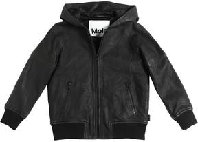 Molo Hooded Smooth Leather Jacket