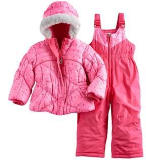 ZeroXposur Toddler Girl Heart Print Joy Jacket & Bib Snow Pants Set