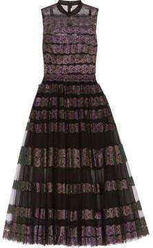 Christopher Kane Metallic Lace-paneled Tulle Midi Dress - Black