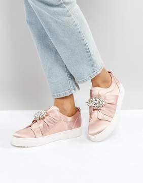 New Look Embellished Brooch Satin Sneaker