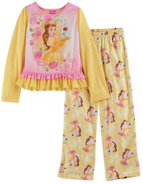 Disney Disney's Beauty and the Beast Belle Girls 4-8 Ruffle Hem Top & Bottoms Pajama Set