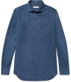 Loro Piana Alains Cutaway-Collar Herringbone Cotton Shirt
