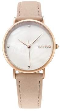 RumbaTime Lafayette Rosetone Blush Pink Leather Strap Watch