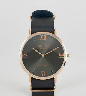 Reclaimed Vintage Inspired Roman Leather Watch In Black Exclusive to ASOS