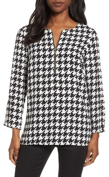 Chaus Zip Front Houndstooth Blouse