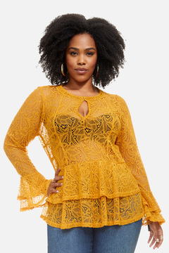 Fashion to Figure Bryant Park Lace Bell Sleeve Top
