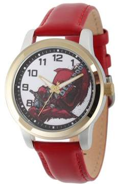 Marvel Marvel's Deadpool Men's Two-Tone Alloy Watch, Red Leather Strap