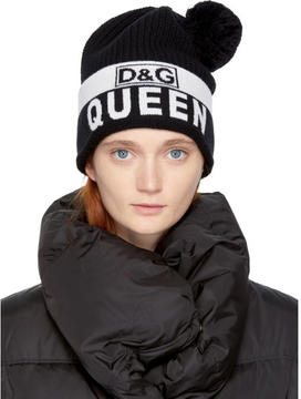 Dolce & Gabbana Black Royal Queen Pom Pom Beanie