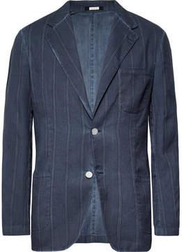 Massimo Alba Storm-Blue Slim-Fit Unstructured Striped Linen And Cotton-Blend Blazer