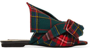 No.21 No. 21 - Knotted Plaid Canvas Slides - Red