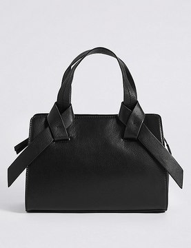 Marks and Spencer Leather Knot Detail Grab Tote Bag