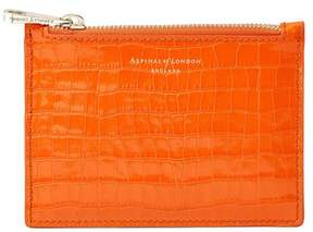 Aspinal of London Small Essential Flat Pouch In Deep Shine Amber Small Croc