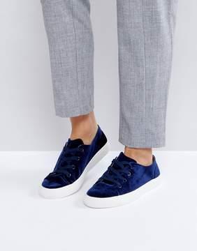London Rebel Lace Up Velvet Sneaker