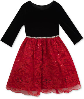 Rare Editions Sequin-Detail Embroidered Party Dress, Little Girls (4-6X)