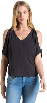 Bella Dahl Cold Shoulder Tee-Black-S