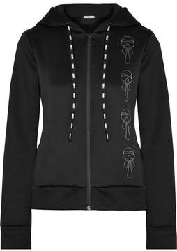 Fendi Karlito Appliquéd Embroidered Tech-jersey Hooded Top - Black