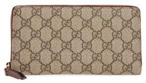 Gucci Women's Gg Supreme Zip Around Canvas Wallet - Beige - BEIGE - STYLE