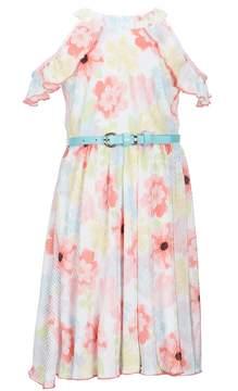 Us Angels Lavender by Little Girls 4-6X Floral Cold-Shoulder Dress