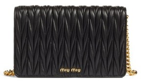 Miu Miu Women's Matelasse Wallet On A Chain - Black
