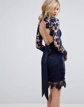 Club L Long Sleeve Crochet Dress With Open Back & Tie Bow