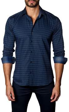 Jared Lang Trim Fit Zigzag Sport Shirt