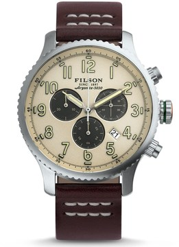 Filson Mackinaw Chronograph Field Watch - 43mm, Leather Strap (For Men)