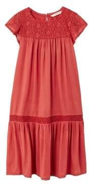 MANGO Embroidered long dress