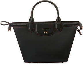 Longchamp Le Pliage Heritage Medium Leather Tote Bag, Black