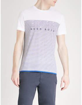 BOSS GREEN Striped logo-print cotton-jersey T-shirt
