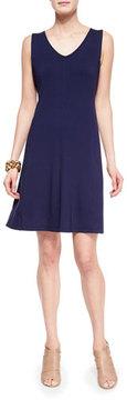 Eileen Fisher V-Neck Shaped Jersey Dress, Midnight