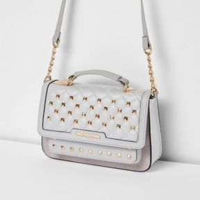 River Island Womens Grey studded mini cross body chain bag