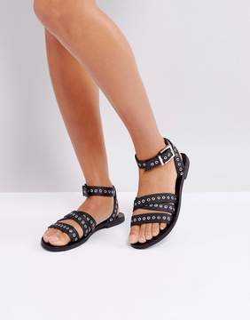Sol Sana Clash Black Leather Eyelet Sandals