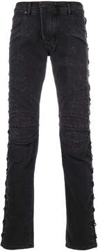 Pierre Balmain criss-cross detail jeans