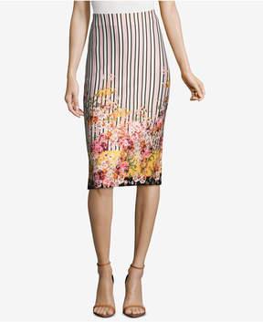 ECI Mixed-Print Pencil Skirt